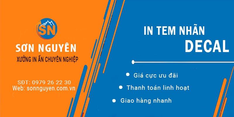 Dịch vụ in tem nhãn decal tại Xưởng in Sơn Nguyên